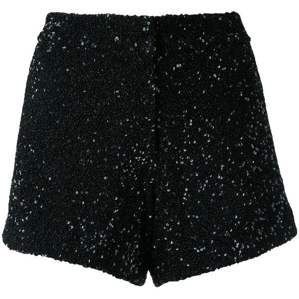 Manish Arora sequinned shorts ($837) ❤ liked on Polyvore featuring shorts, black, sequin shorts and manish arora