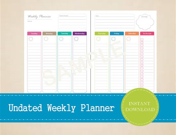 Undated Half Page Weekly Planner  Colorful by MBucherConsulting