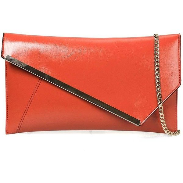 BMC Fashionably Chic Bright Orange Faux Leather Gold Metal Accent... ($5.28) ❤ liked on Polyvore featuring bags, handbags, clutches, red clutches, faux leather envelope clutch, purse clutches, red hand bags and orange clutches