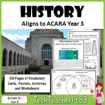 Contained in this pack is EVERYTHING you need to teach Year 3 History to meet the Australian Curriculum Standards (ACARA) such as:Who lived here first and how do we know?How has our community changed? What features have been lost and what features have been retained?What is the nature of the contribution made by different groups and individuals in the community?How and why do people choose to remember significant events of the past?In this pack, you will find over 50 pages of activities…
