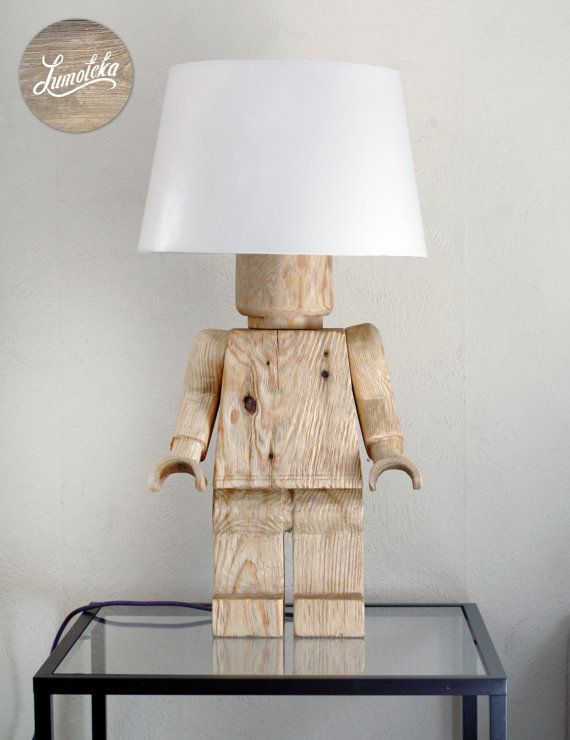 Wooden Lego Table Lamp by Lumoteka on Etsy