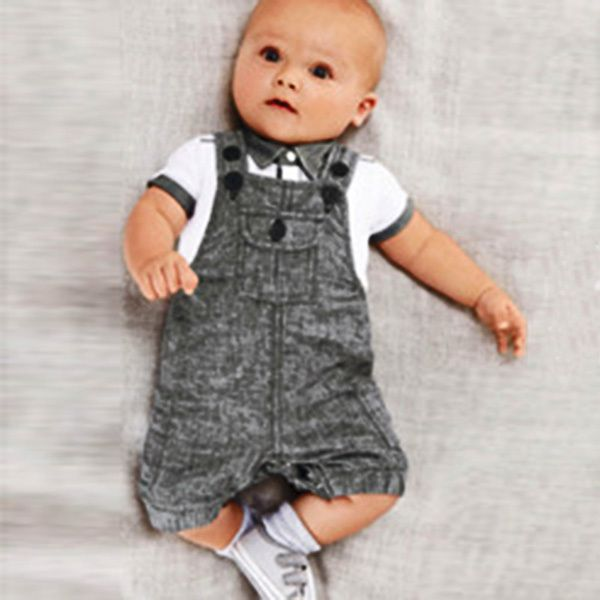 New 2PCS Summer Infants Baby BoysT-shirt Top+Bib Pants Jumpsuit Overall Costume Clothes Sets #Affiliate