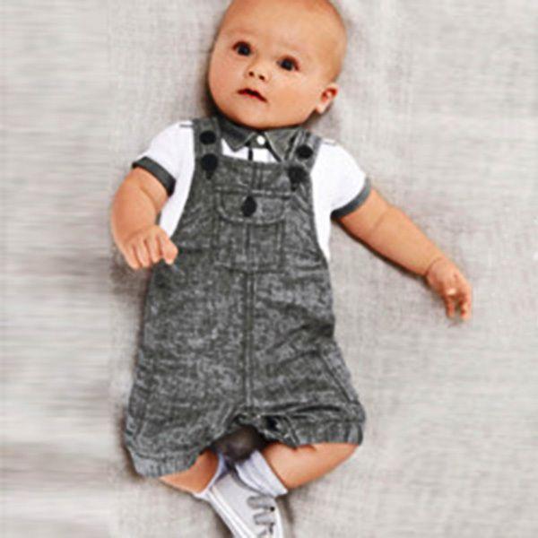 Infants Baby Boys 2 PCS Clothing Sets T-shirt Top+Bib Pants Clothes Set Jumpsuit Overall Costume