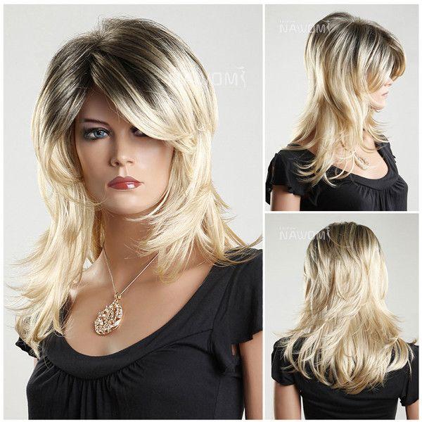 NAWOMI flutty destaca 100% kanekalon peluca de pelo sintético de medio-largo sin tapa recta