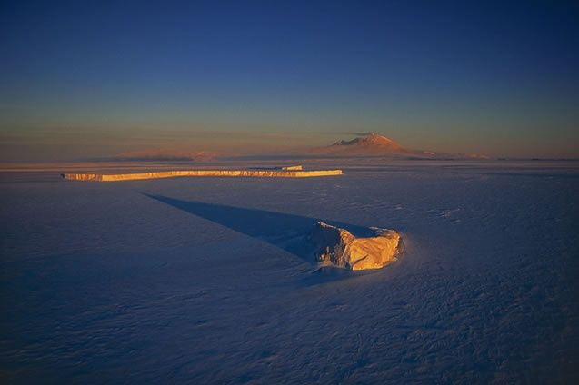 Sea ice of Ross and Mount Erebus, McMurdo Sound, Antarctica (South Pole)