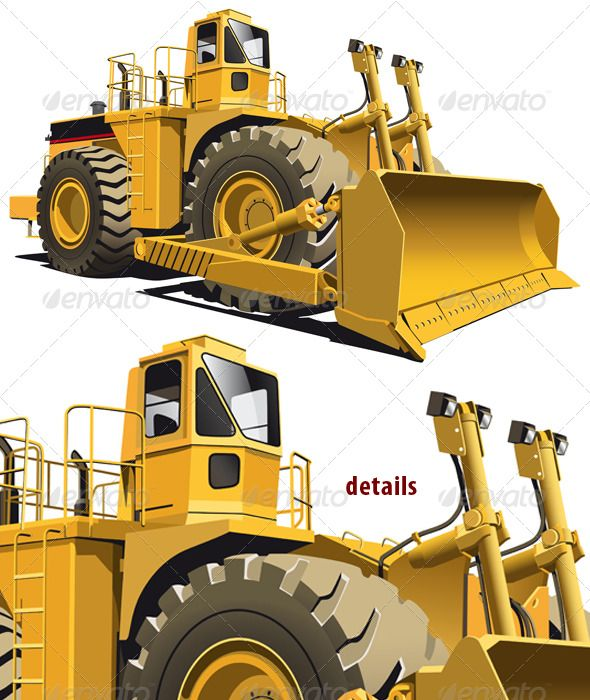 Wheeled dozer by busja detailed vectorial image of wheeled dozer, isolaned on white background. Contains gradients.