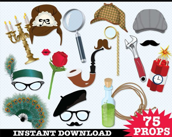 Detective - Murder Mystery Photo Booth Props - Clue Birthday Party, Who Done It Party - Instant Download PDF - 75 DIY Printable Props: $6.99