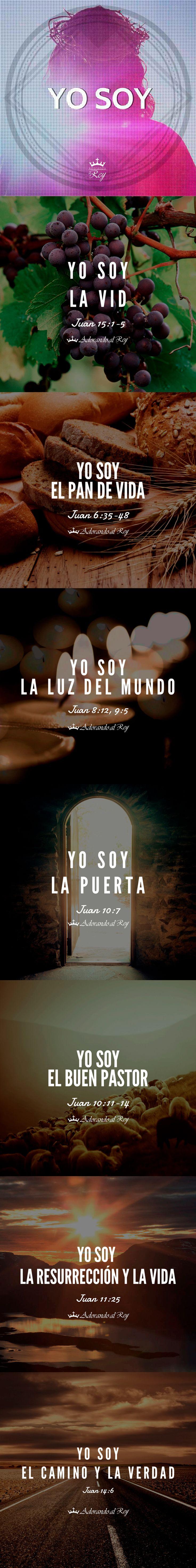 Yo soy la vid (Juan 15:1-5) Yo soy el pan de vida (Juan 6:35-48) Yo soy la luz del mundo (Juan 8:12, 9:5) Yo soy la puerta (Juan 10:7) Yo soy el buen pastor (Juan 10:11-14) Yo soy la resurrección y la vida (Juan 11:25) Yo soy el camino y la verdad (Juan 14:6) #GranYoSoy #YoSoy #Jesus #JesusCristo #JesuCristo #Redentor #Salvador #Dios #Jehova #EspirituSanto #EspirituDeDios #Juan #Evangelio #Biblia #PalabraDeDios #Amen #Aleluya #Cristocentricos #Cristianos #Avivamiento #AdorandoalRey