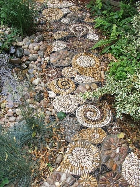 Stone Garden Paths | Creative pebble path leading to water feature adding spiral designs to ...