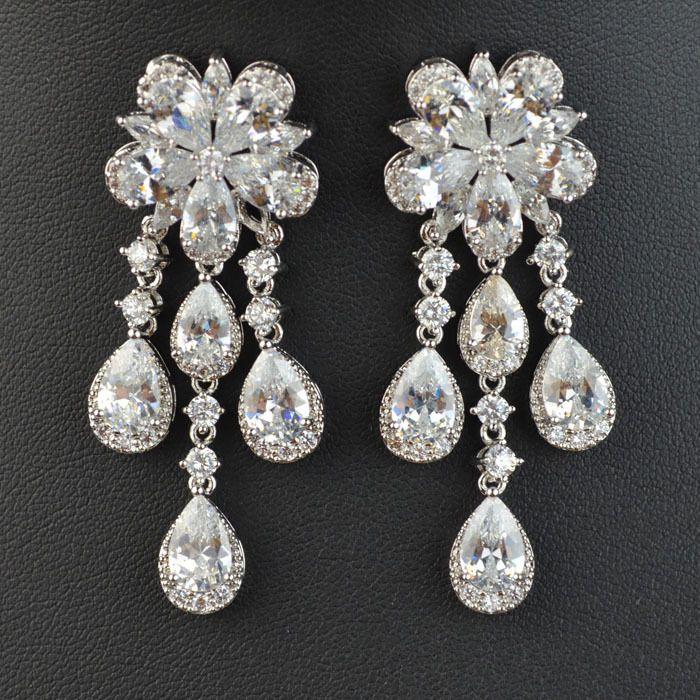 Platinum Plated Long Flower Shape Luxury CZ Drop Earrings