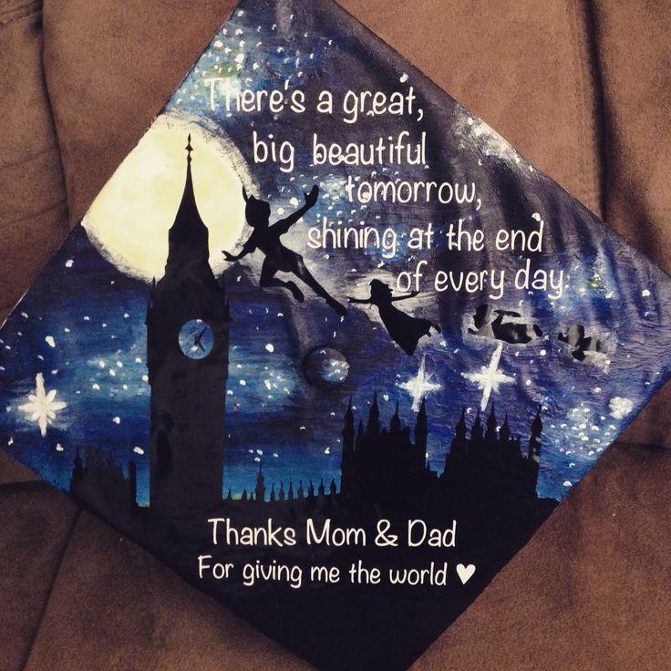 My grad cap! #graduation #disney #art #painting #vinyl #peterpan #quote #london