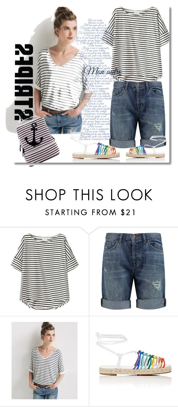"""Stripped t-shirt!"" by faten-m-h ❤ liked on Polyvore featuring J Brand, Promod, Chloé, Dasein and stripedshirt"
