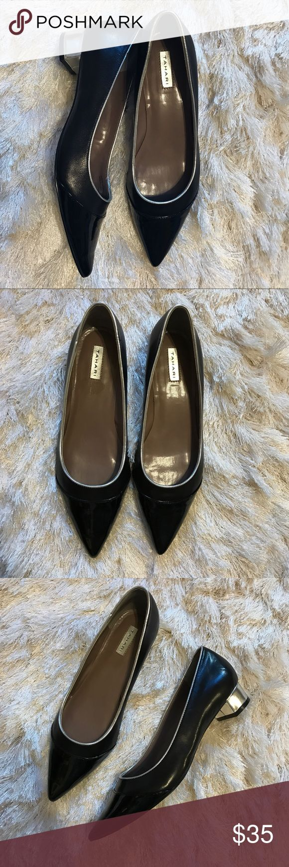 """Leather Pointed Loafers Leather pointed """"KAT"""" flats with an inch metallic heel by Tahari. Never worn and in perfect condition. Tahari Shoes Flats & Loafers"""