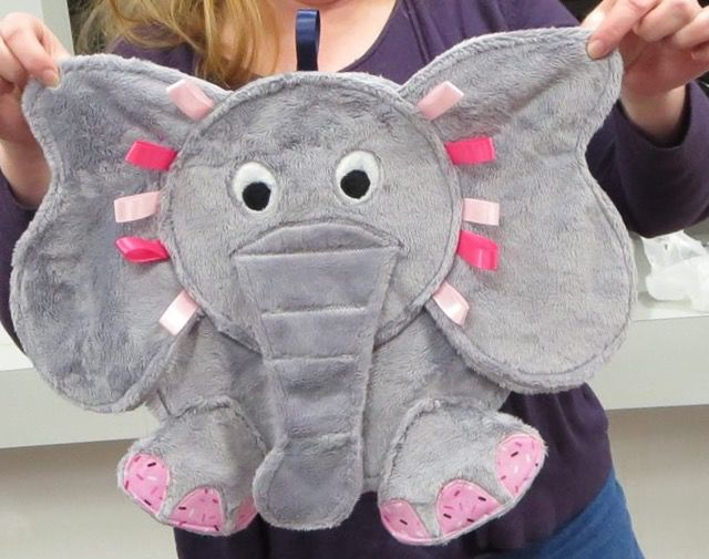 Such a cute elephant taggie blanket.