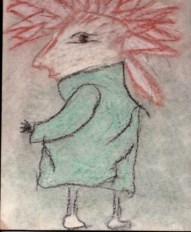 my son drew this in grade 3 it was the 80's and punk rock was everywhere I just thought this fit with the time so well I call him my flasher punk rocker...