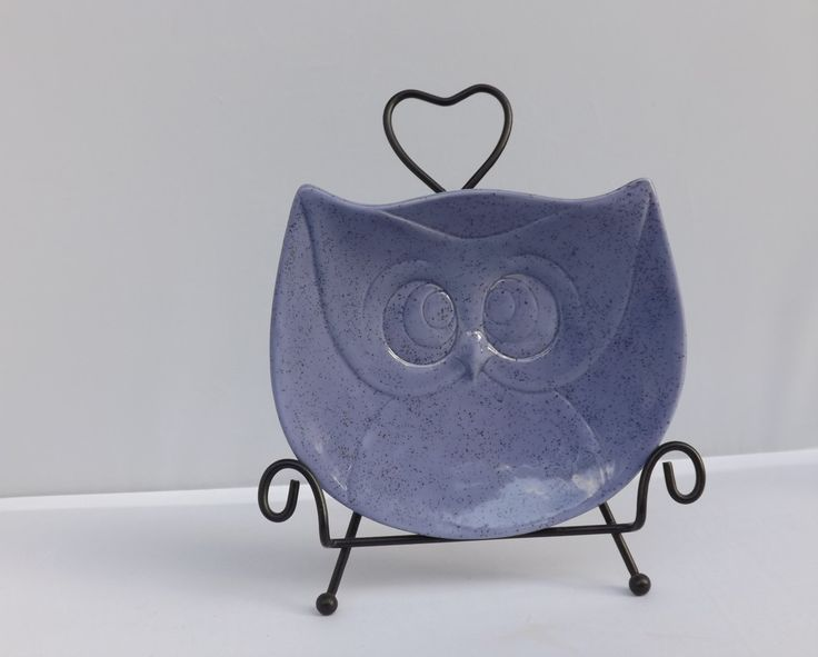 Purple Hooter Owl Soap Dish Owl Spoon Rest Owl Trinket Dish Owl Tea Bag Holder Owl Plate from my Charleston, SC studio - pinned by pin4etsy.com