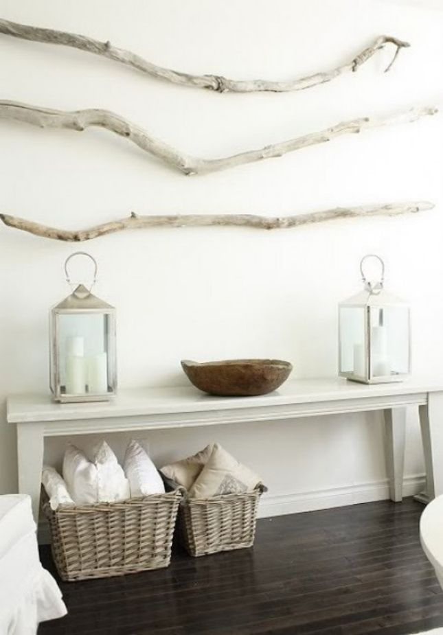 This gray branch brings a fun texture into this otherwise modern room.