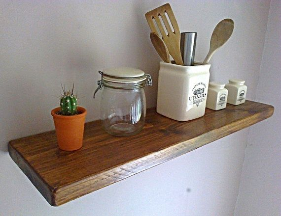 Kitchen Floating Wall Shelf / Shelves - Royal Oak Natural Wax - 1ft - 8ft - ** FREE UK DELIVERY **  Deep, Solid Pine, Kitchen Floating Wall Shelves ?   Your Lovely, Rustic, Pine Floating Shelves are Delivered in Your Choice of Pine, Oak or Whites With Natural Wax Finish to Compliment Your Home ...  The Shelf Pictured Above is, Royal Oak, Various Finishes are Available (See Colour Sample Image).  Natural Timbers Give You all The Rustic Charm Of Real Wood & these Deep Shelves Give You the…