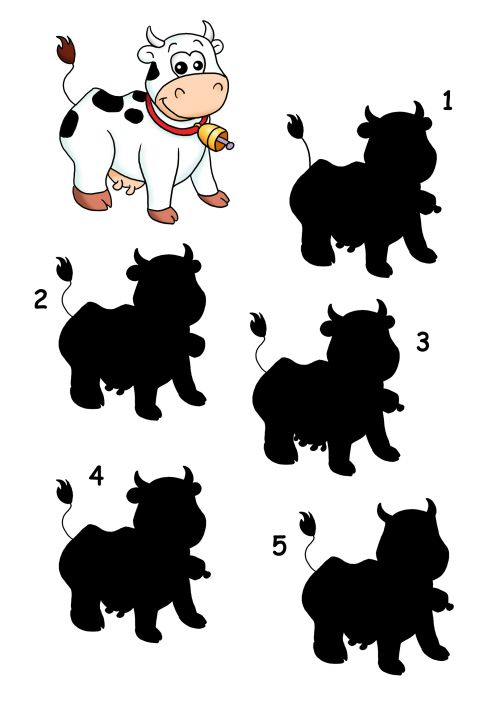 Give your child's brain a workout with this free printable activity sheet that asks them to find the cow that matches. Brain games are a great way to encourage children to think logically, and matching games help them look for fine details to decide which silhouette is the same as the colored image. When your child has found the answer, have them explain why the others aren't quite the the same.  Read more at…