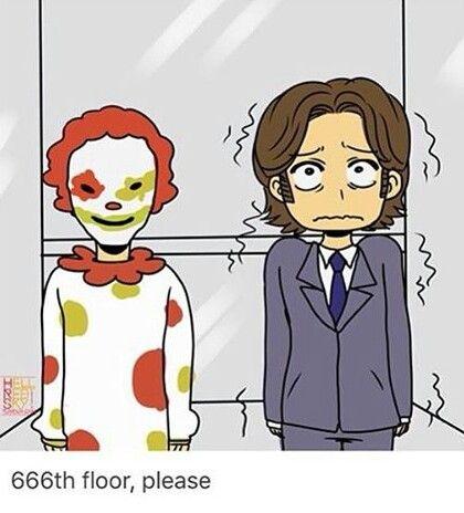 Aww poor Sammy << I BET ITS TUESDAY, TOO LMAO ^_^ #Supernatural fanart 11x07 Plush #Sam Winchester #Clown