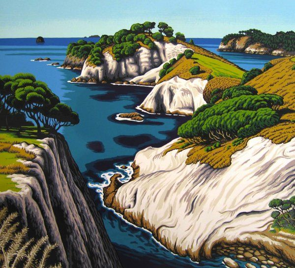 'Te Pupuha Pt - South Hahei' by Tony Ogle, NZ. Screenprint of NZ cliffs and rocks lookiing over the  ocean and trees. 835NZD. (Nov 2013)