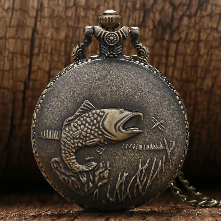 Vintage Bronze Cute FISH Case Design Pendant Man Women Fashion Best Gift Retro Quartz Watches with Necklace Chain Pocket Watch