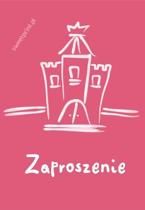 Składane różowe zaproszenie na urodziny: Princess castle    $1
