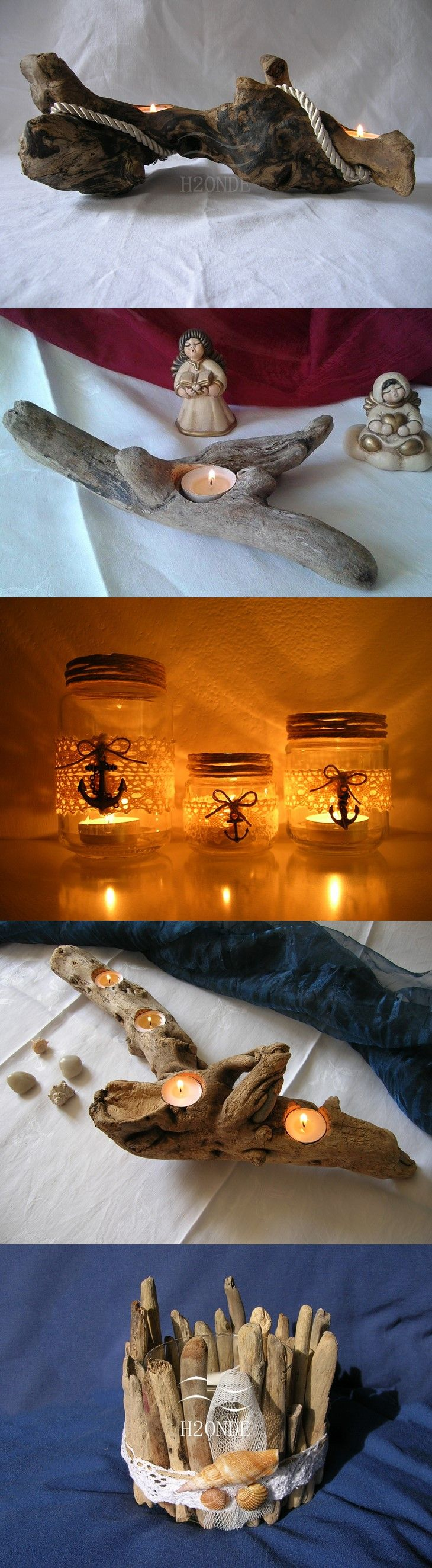 5 IDEAS FOR YOUR CENTERPIECE!  Unique home decor handmade from H2ONDE for you! [natural driftwood, glass, candle holder, modern design, rustic centerpiece, anchor, rope, ocean decor, marine decor, driftwood beach decor, tea light holder, coastal decor, wedding, desk, mantel fireplace, romantic idea]