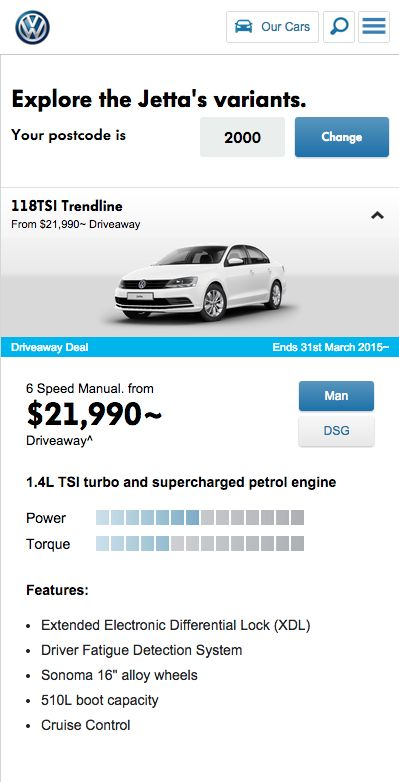 Project: Volkswagen.com.au Models & Pricing, containing variants of all VW models across the site with location-based price integration. Role: Producer. Agency: Tribal DDB.