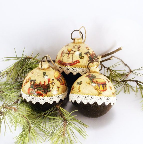 Christmas Ornament Children Toys Set of 3 by Alenahandmade on Etsy, $35.00