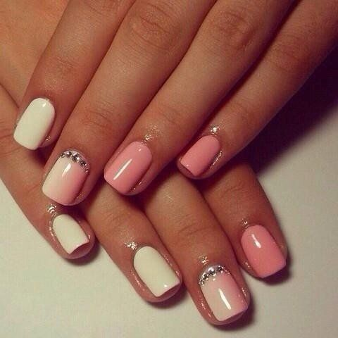 This elegant manicure will fit to fashionable teenage girls and adult business women. White-pink sparkling of light lacquers creates a