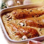 Receta muy fácil de pechugas de pollo bañadas en crema y champiñones rebanados.