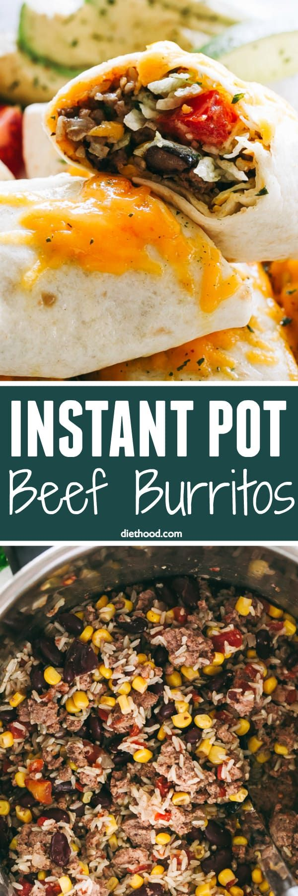 Instant Pot Beef Burritos Recipe - Filled with beef, rice, onions, tomatoes, beans, corn and cheese, these Instant Pot burritos are simple, FAST, filling and packed with flavor! Tender and delicious, this instant pot beef burrito filling has just the right amount of spice and it's perfect for a weeknight meal.