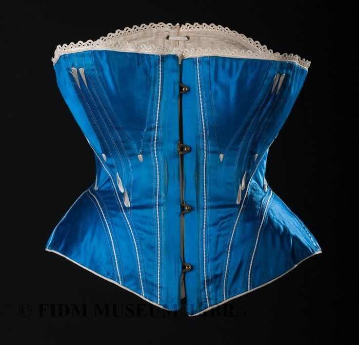 "Exhibit15-10Corset c. 1868-1874 FIDM Museum Purchase 2011.5.28 ""When fully laced and fastened, the waist circumference of this corset is about 22 inches."" [I.e. in actual use, the wearer's corseted waist would be 24-26 inches.]"