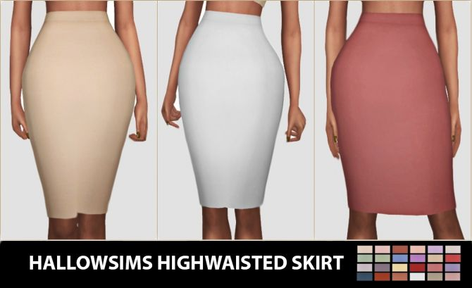 Highwaisted Skirt at Hallow Sims via Sims 4 Updates  Check more at http://sims4updates.net/clothing/highwaisted-skirt-at-hallow-sims/