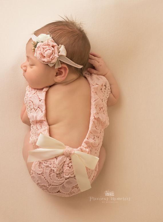 Neugeborene Foto Outfit Mädchen Spitze Strampler Set, Neugeborene Mädchen rosa weiße Minze Spitze Foto Outfit Baby Mädchen Open Back Strampler Neugeborenen Fotografie