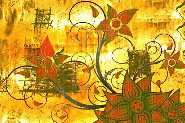 "A SmudgeArt contemporary digital floral composition ""Autumn"""