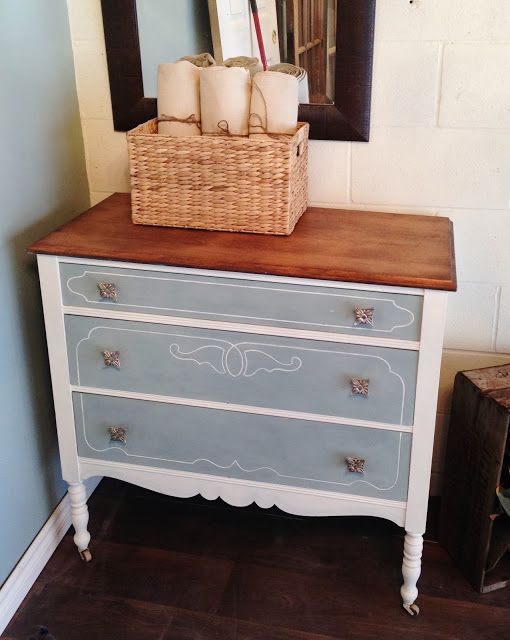 Painted Vanity Furniture: Antique Dresser Turned Vanity - Chalk Paint