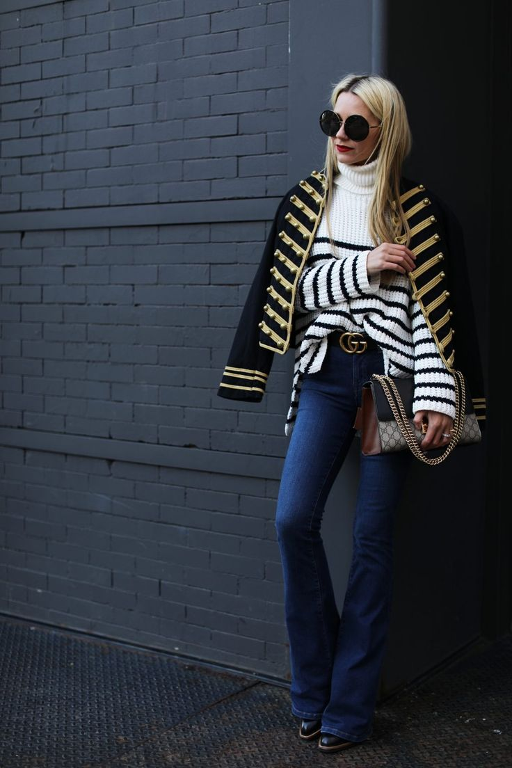 atlantic pacific - Military jacket, stripe sweater, flare jeans, gucci bag