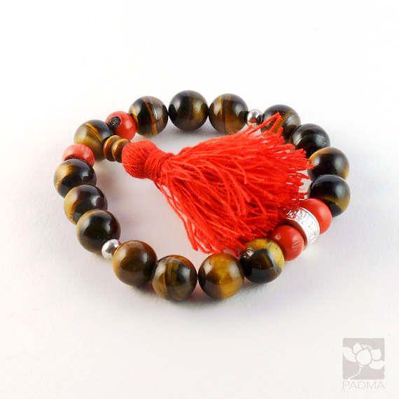 Tiger eye  natural Coral Beads Mantra bead Cotton by PadmaZenArt