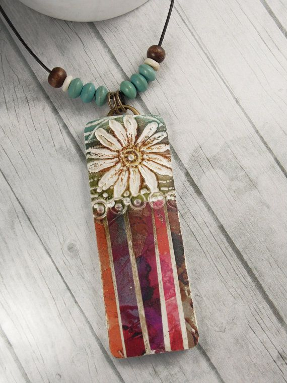 Polymer Clay Pendant Beach Boho Jewelry by WiredOrchidJewelry