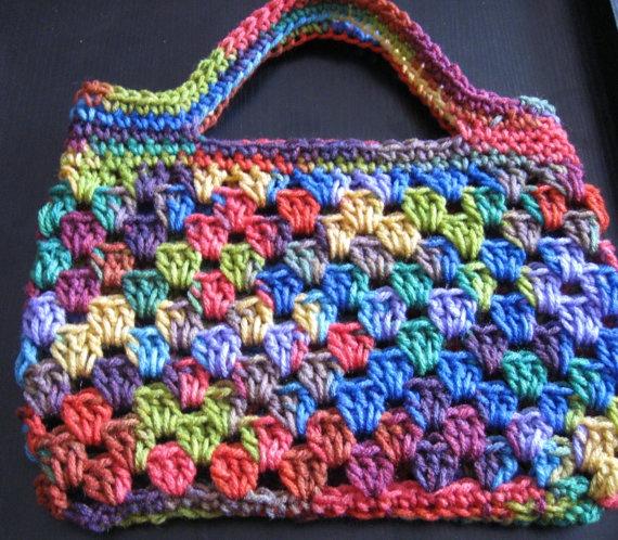 Crochet Rainbow bag or purse Granny stripe by HollysHooksandLoops, $18.00