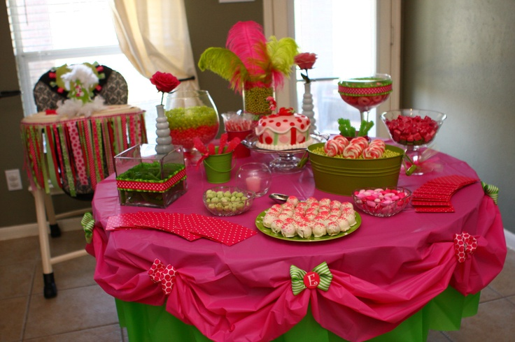 I'm going to have to keep this table cloth idea in mind. I don't care for plastic tablecloths but I love this look!