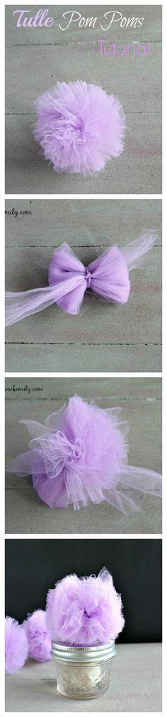 Easy Tutorial on how to create the cutest Tulle Pom Poms perfect for topping gifts or even as bunny tails!