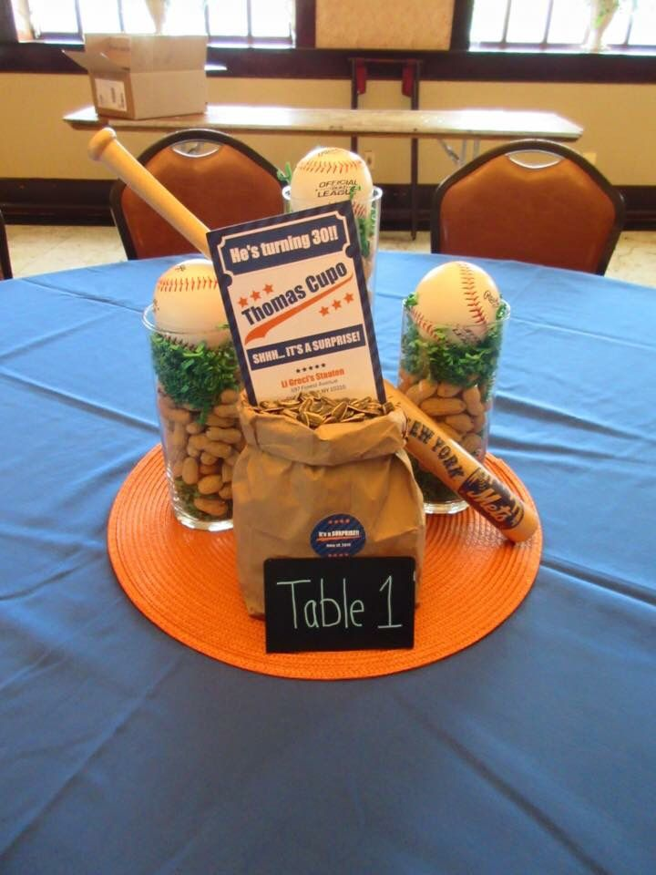 Dirty 30 birthday centerpiece, baseball themed party, Mets theme centerpiece