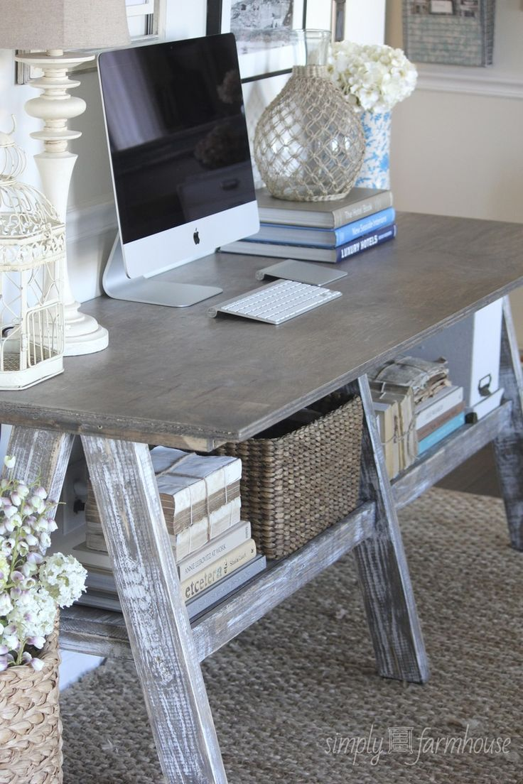 office room diy decoration blue. Love The Old Farm Table Mixed W/ High Tech Devices. Perfect Blend Of New And Old. Rustic Home Office Or Workspace Room Diy Decoration Blue