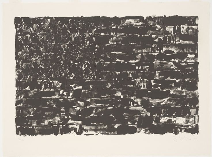Johns has made dozens of interpretations of the American flag—in painting, drawing, metal relief, and printmaking. Flag I is his first printed rendering. He drew the image with broad strokes in the liquid medium of tusche, which accounts for the loose, fluid quality of the composition and its nearly unrecognizable form. Printed in rich black ink, this version exudes a somber, even morbid, tone.