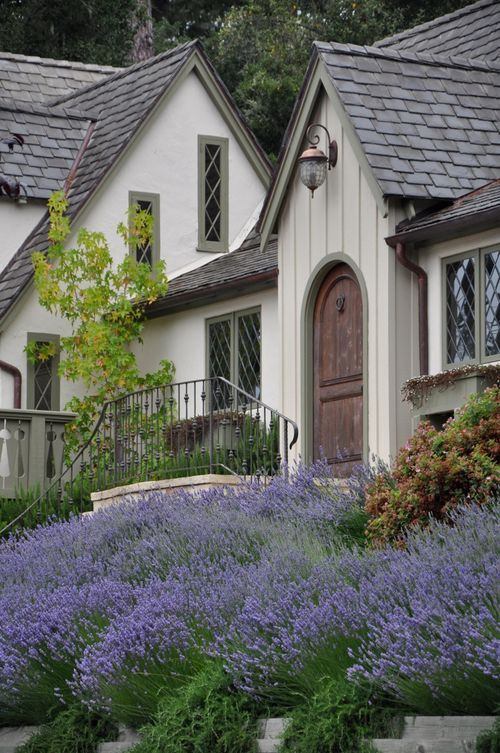 House with Board and Batten Siding - Lavender Flowers - Carmel by the Sea - Brooke Gianetti - Velvet & Linen Blog