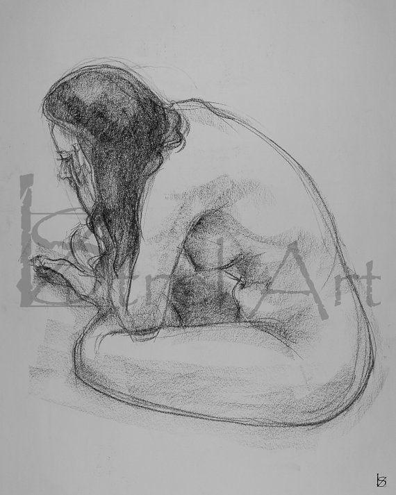 Female nude 3. Digital image of original charcoal by ArtViStrel