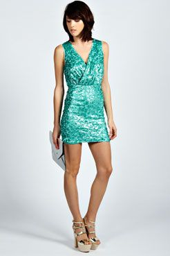 Debbie Cross Over Cluster Sequin Dress at boohoo.com
